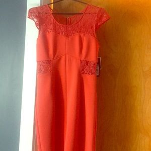 Rita hot coral cut out dress by GUESS